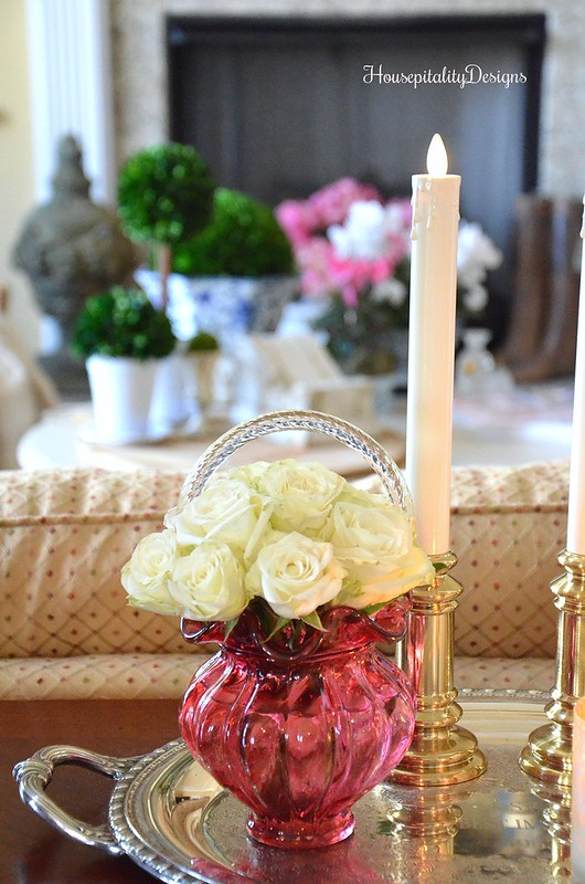 Cranberry Glass-Rose Arrangement-Luminara Candle-Housepitality Designs