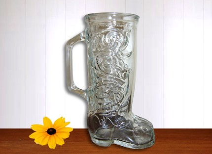 Vintage Western Boot Clear Glass Vase This Is A Very Cute Flickr