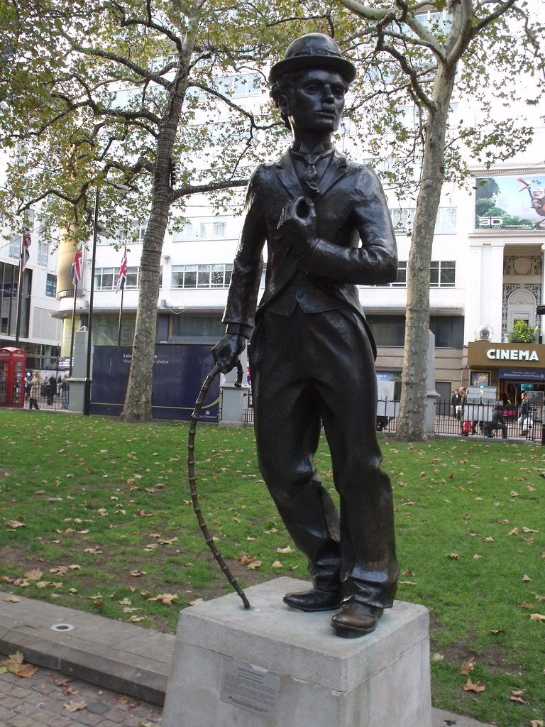 statue of Charlie Chaplin - Leicester Square Gardens, Lond