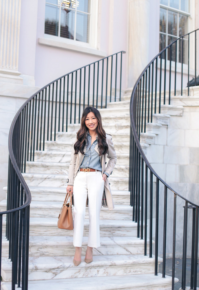 white flare crop pants business casual work outfit idea