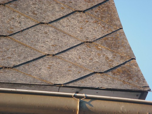 Close Up Asbestos Cement Roof Shingles Close Up View Of