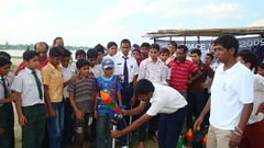 A student is preparing for Water Rocket Launch