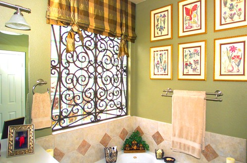 Wrought Iron Cornice : Faux wrought iron bathroom window treatment the