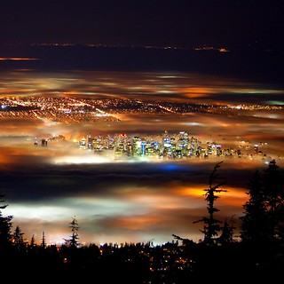 Vancouver at Night (Vancouver in Fog) | by flynnkc