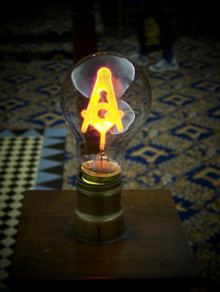 Masonic Light Bulb Containing Square And Compass Logo