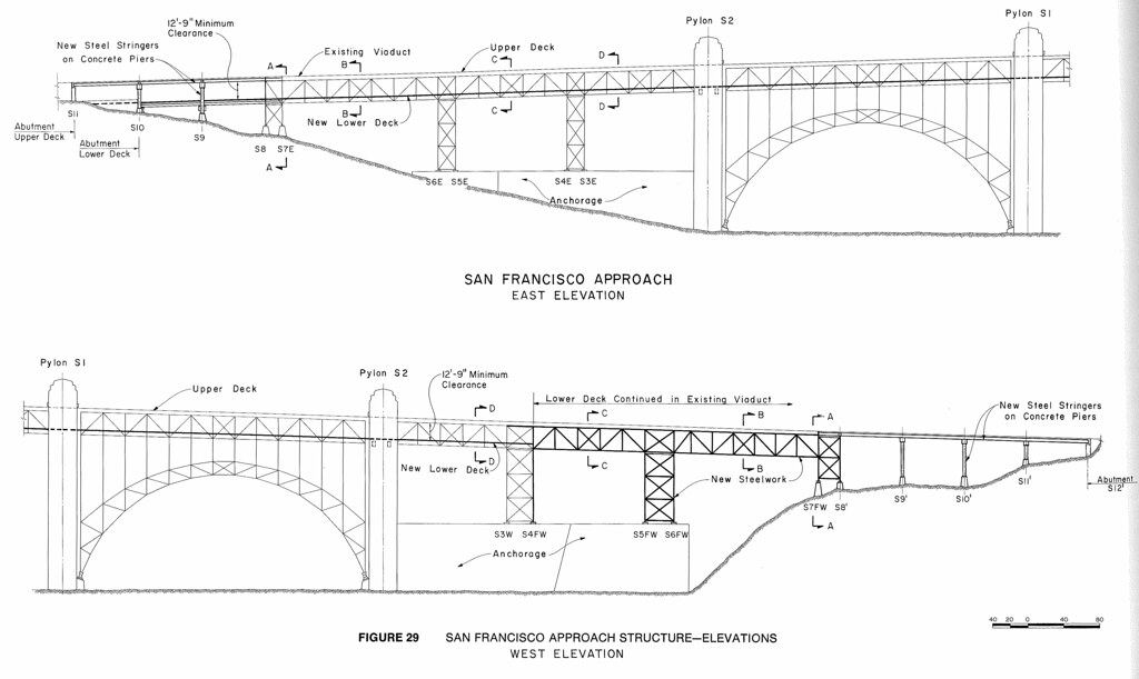 Double-deck Golden Gate Bridge: San Francisco approach str ...