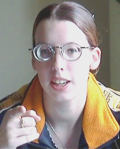 Cute Girl Wearing Glasses With Thick Lenses  Gwg Fan -7166