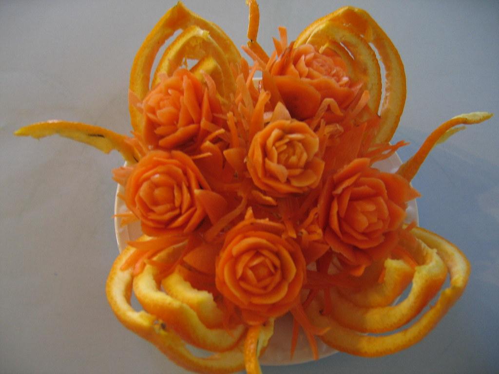 Orange peel basket carrots bouquet carving