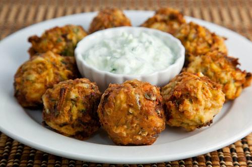 Kolokythokeftedes (Zucchini and Feta Balls) with Tzatziki | Flickr