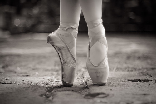 Ballet shoes black and white photography