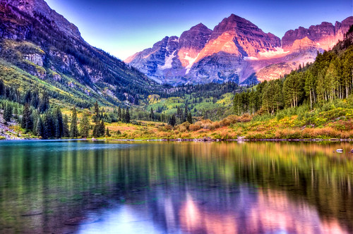 Maroon Bells at Sunrise with Lake Reflections | by NikonKnight