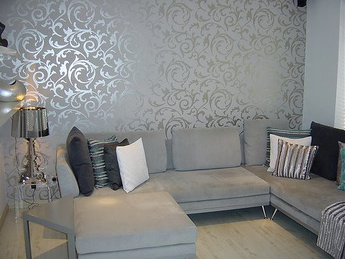 Elegant grey wallpaper living room post on brunch at for Wallpaper accent wall ideas living room