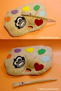 mixing palette + paint brush plushies set | by woolloomooloo