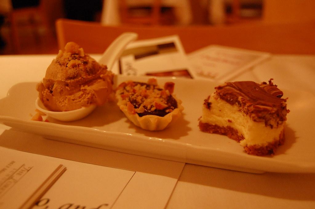dessert trio | coffee gelato macadamia chocolate tart cheese… | stu ...