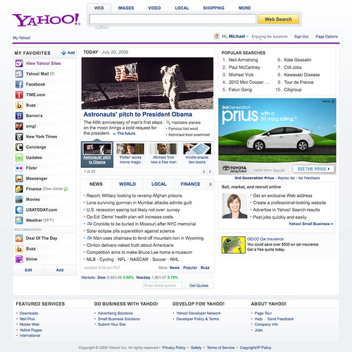 Yahoo New Homepage 2009 | by rustybrick