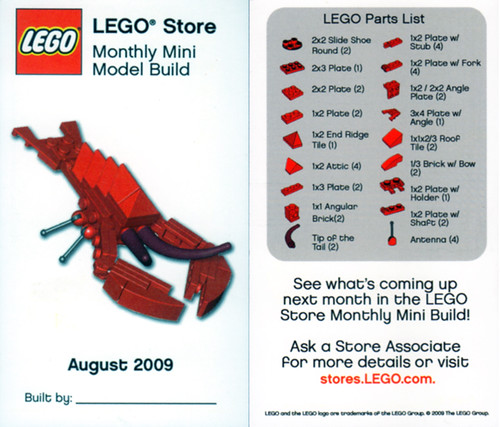 LEGO MMMB - August 2009 (Lobster) | LEGO Store Monthly Mini … | Flickr