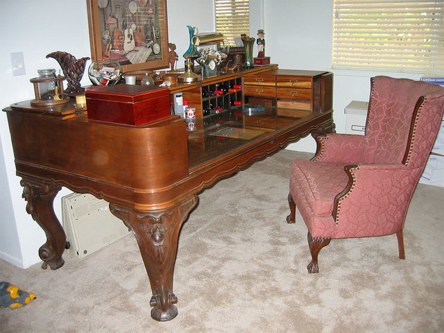 Antique Square Grand Piano Desk With Chair Once Upon A