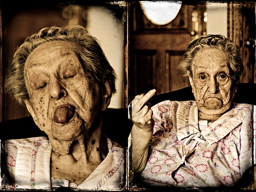 "My 97 year old ""Bubbe"" goofing with us. (Update: she's now 99) 