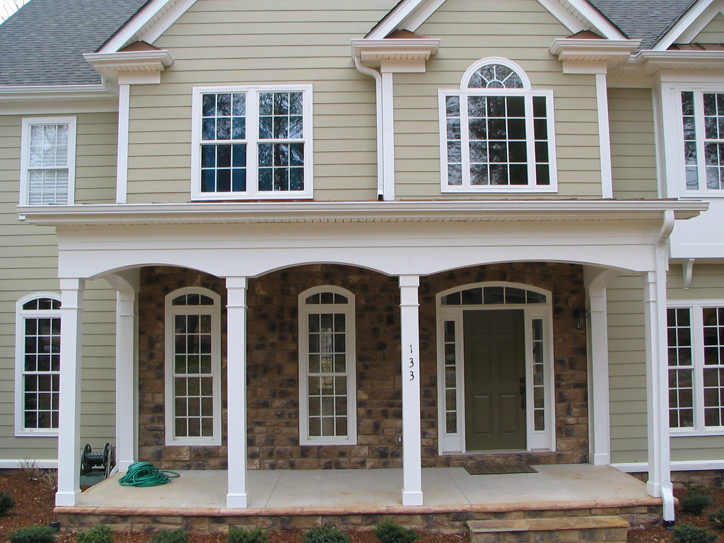 Hardiplank Siding W Vinyl Boxing And Arched Azek Porch Tri