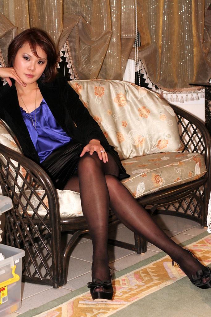 Silk Blouse And Mini Skirt  For Lovers Of Black Sheer -1117