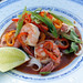 thai creamy chili kaffir lime stir-fry with shrimp, sweet peppers and rice noodles