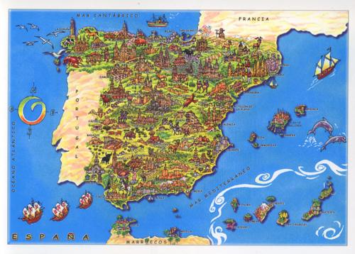 ... Spain cartoon map card ...
