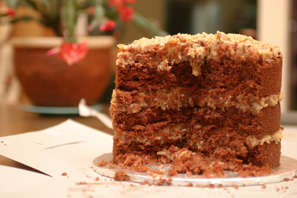 German Chocolate Cake With Cream Cheese And Chocolate Chips