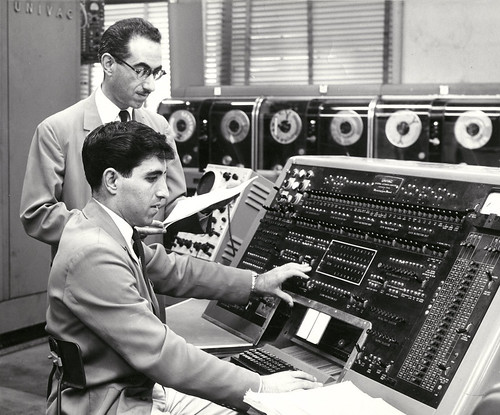 1957 papa: working on the Univac | by maralina!