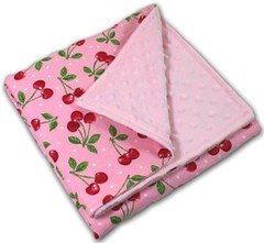 Little Cherries Vintage Baby Blanket - Personalzied Baby Blanket | by bubblecakesbabyblankets