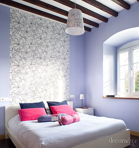 Papel pintado en la pared del cabecero la pintura - Cabeceros de cama pintados ...