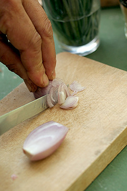 slicing shallots | by David Lebovitz