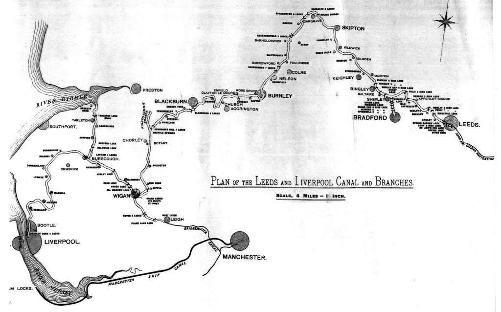 Data available under creative commons zero. early map,Leeds & Liverpool Canal   made shortly after the ...