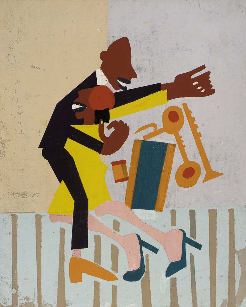 Modernist painting of well-dressed Black couple dancing, with jazz instruments in the background
