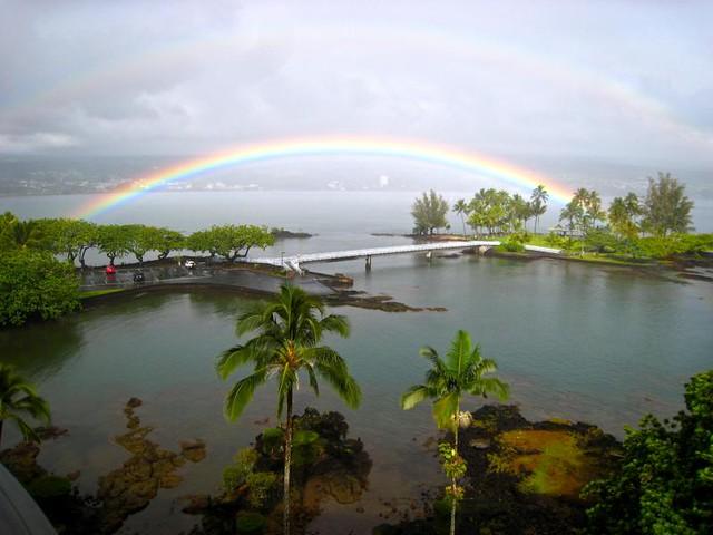 Double rainbow over coconut island hilo rainbows and for Hilo fish company