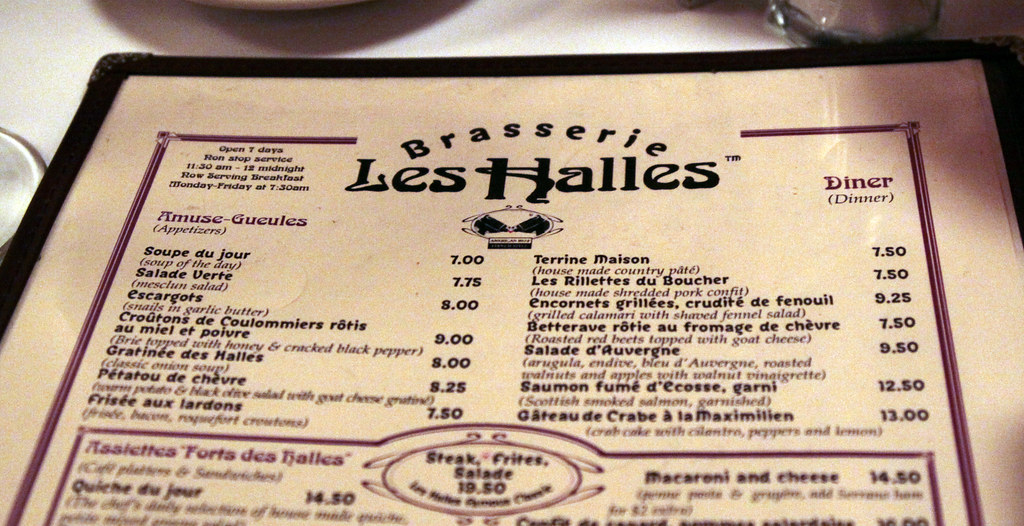 Brasserie Les Halles Menu The menu from Les Halles