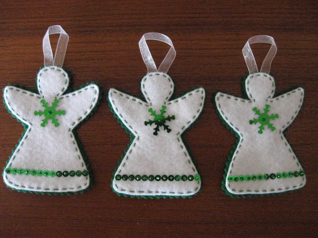 Green And White Angel Ornaments Felt Christmas Ornaments