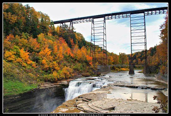 Letchworth State Park Upper Falls Portage Bridge In Autumn Flickr