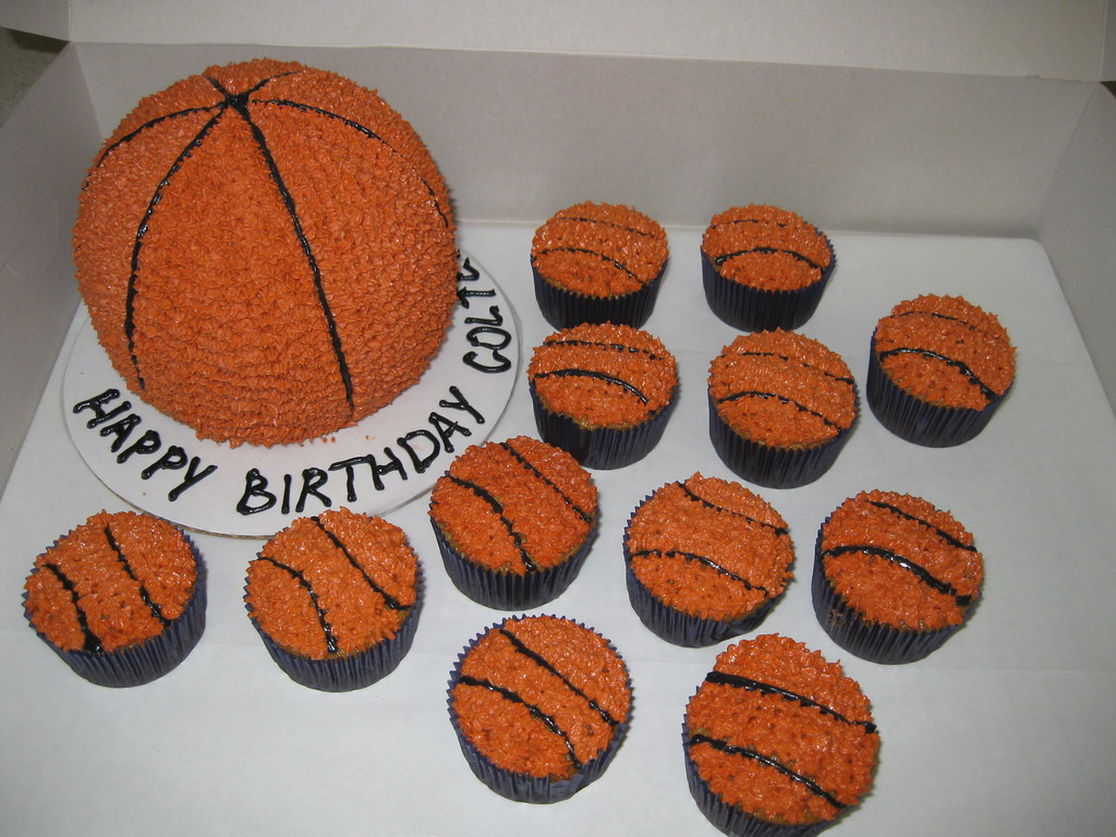 Basketball Cake And Cupcakes Themed With