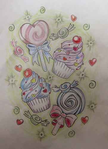 candy tattoo flash | by cláudia f.