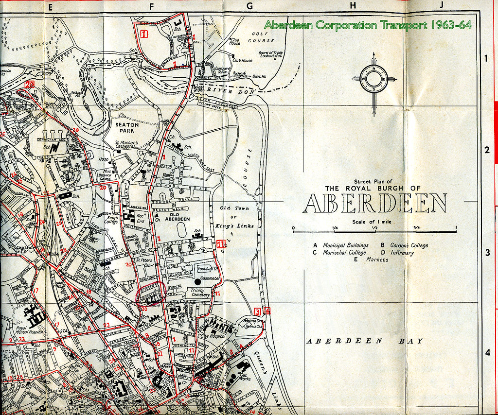 Aberdeen Corporation Transport 196364 timetable map top r Flickr