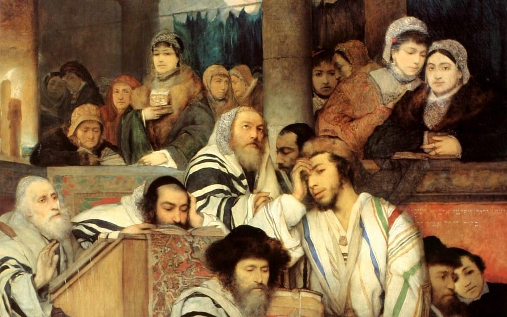 Gottlieb jews praying in the synagogue on yom kippur for Trodel mobel