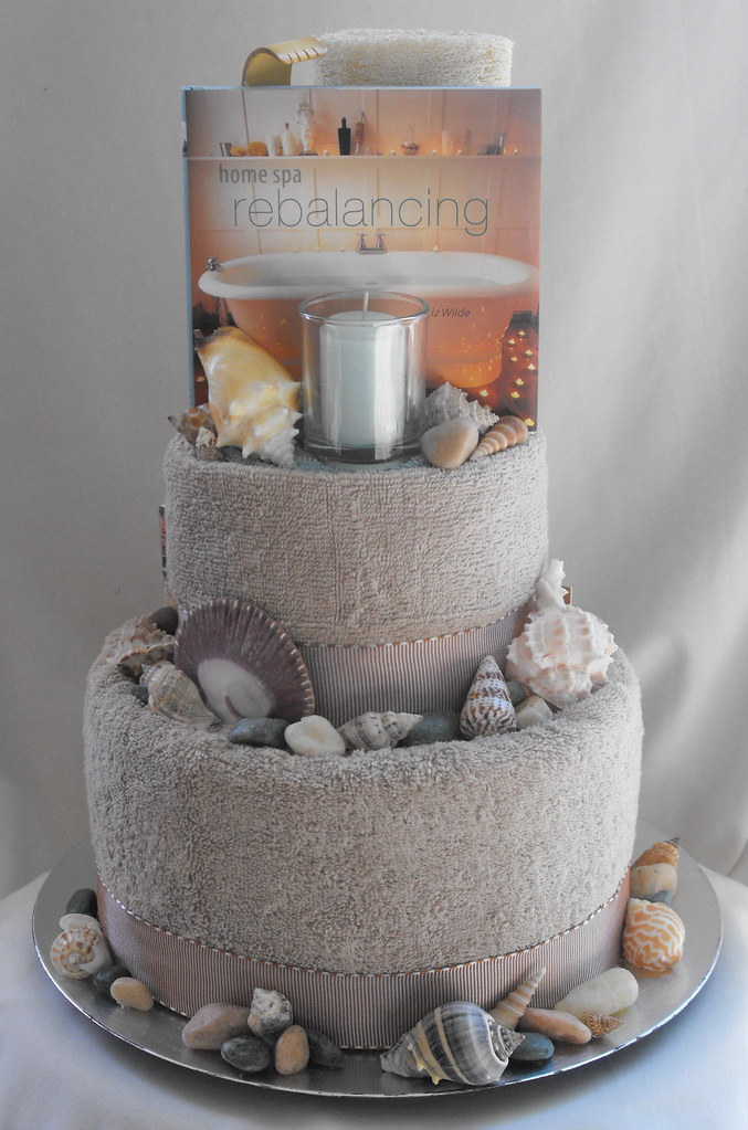 Seaside Spa Cake Front Seaside 2 Tier Spa Towel Cake