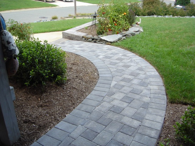 Photo of a pavestone walkway view more hardscape photos for Paved garden designs ideas