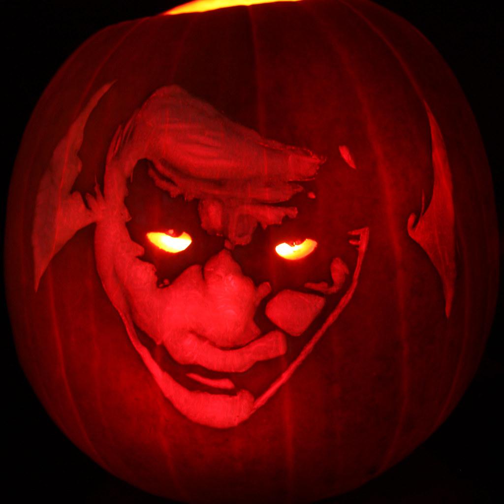 Joker pumpkin carvings