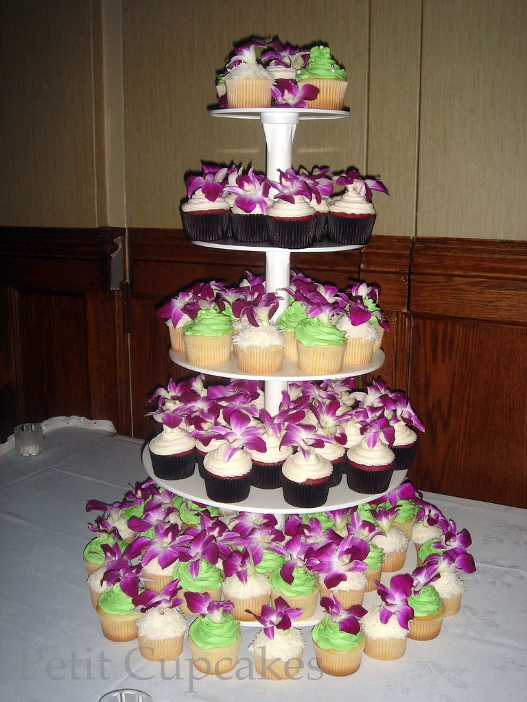 wedding cake and cupcakes purple wedding cupcake tower purple orchids flickr photo 21733