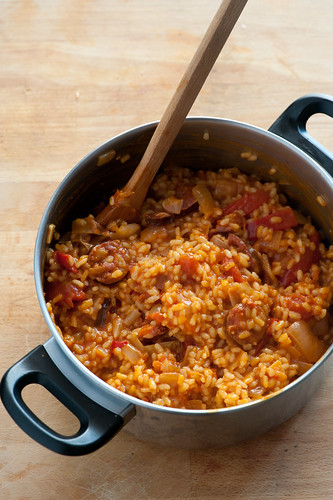 spanish rice with chorizo & pimentos | by jules:stonesoup