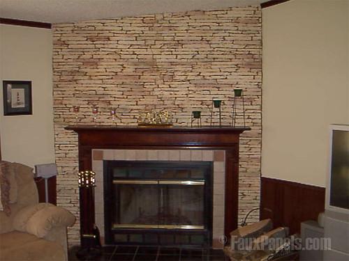 Stone Veneer Used Around Fireplace | Stone veneer being ...