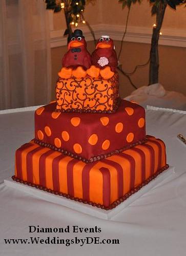 Virginia Tech Hokie Bird Wedding Cake Ceremony Colonial