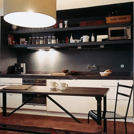White kitchen black wall interior architecture and for Kitchen black wall