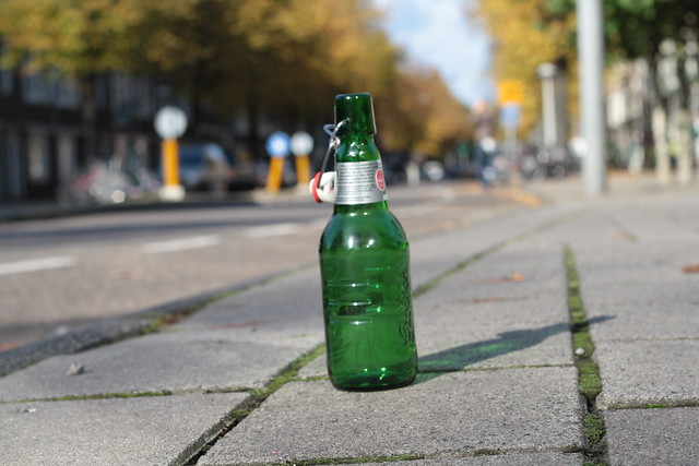 Beer bottle on the street